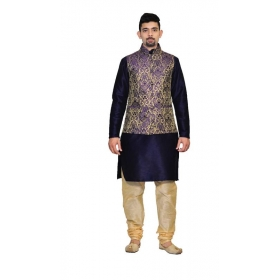 Amg Men's Silk Blue Gold Waiscoat,dark Blue Kurta,gold Pajama Set_amg-3147