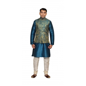 Amg Men's Silk Green Gold Waiscoat,green Kurta,white Pajama Set_amg-3148