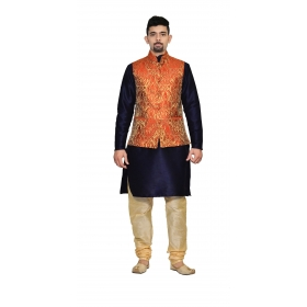 Amg Men's Silk Red Gold Waiscoat,dark Blue Kurta,gold Pajama Set_amg-3150