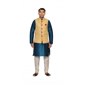 Amg Men's Silk Dark Gold Waiscoat,green Kurta,white Pajama Set_amg-3157
