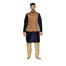 Amg Men's Silk Voilet Gold Waiscoat,d.blue Kurta,gold Pajama Set_amg-3159