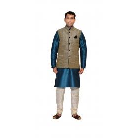 Amg Men's Silk Black Waiscoat,green Kurta,white Pajama Set_amg-3163