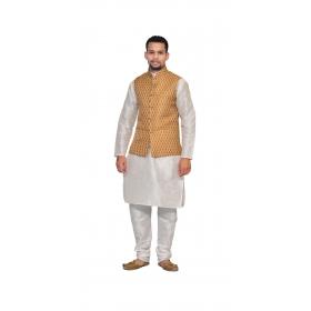Amg Men's Silk Copper Gold Waiscoat,white Kurta Pajama Set_amg-3171