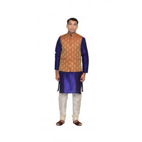 Amg Men's Silk Maroon Gold Waiscoat,blue Kurta,white Pajama Set_amg-3172