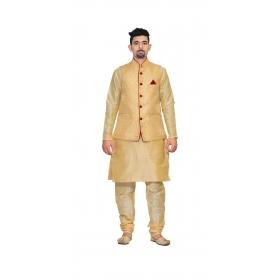 Amg Men's Silk Dark Gold Waiscoat,gold Kurta Pajama Set_amg-3173