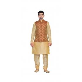 Amg Men's Silk Maroon Gold Waiscoat,multi Dupin Kurta Pajama Set_amg-3175