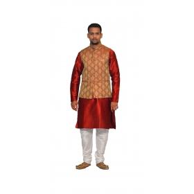 Amg Men's Silk Maroon Gold Waiscoat,red Kurta,white Pajama Set_amg-3179