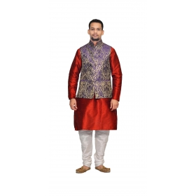 Amg Men's Silk  Blue Gold Waiscoat,red Kurta,white Pajama Set_amg-3189