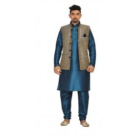 Amg Men's Silk  Black Waiscoat,green Kurta,green Pajama Set_amg-3192