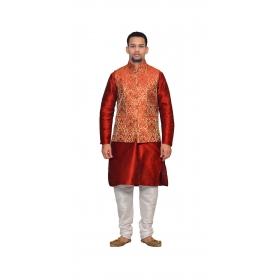 Amg Men's Silk  Red Gold Waiscoat,red Kurta,white Pajama Set_amg-3195