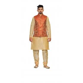 Amg Men's Silk  Red Gold Waiscoat,gold Kurta,gold Pajama Set_amg-3196