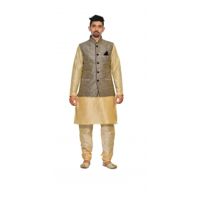 Amg Men's Silk  Black Waiscoat,gold Kurta,gold Pajama Set_amg-3202