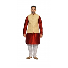 Amg Men's Silk  Gold Waiscoat,red Kurta,white Pajama Set_amg-3204