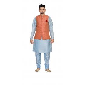 Amg Men's Silk  Pink Waiscoat,sky Blue Kurta,sky Blue Pajama Set_amg-3205