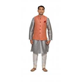 Amg Men's Silk  Pink Waiscoat,silver Kurta,white Pajama Set_amg-3206