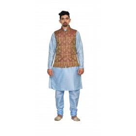 Amg Men's Silk  Maroon Gold Waiscoat,sky Blue Kurta,sky Blue Pajama Set_amg-3207