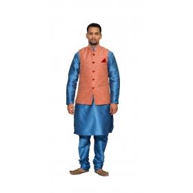 Amg Men's Silk  Pink Waiscoat,third Blue Kurta,third Blue Pajama Set_amg-3208