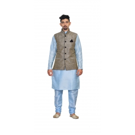 Amg Men's Silk  Black Gold Waiscoat, Sky Blue Kurta,sky Blue Pajama Set_amg-3211
