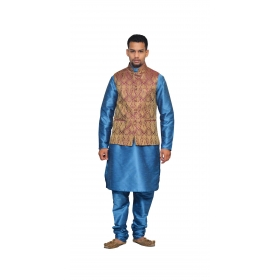 Amg Men's Silk  Maroon Gold Waiscoat,third Blue Kurta,third Blue Pajama Set_amg-3212