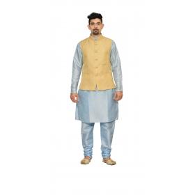 Amg Men's Silk  Gold Waiscoat,sky Blue Kurta,sky Pajama Set_amg-3213