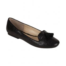 Black Round Toe Flat Ballerinas