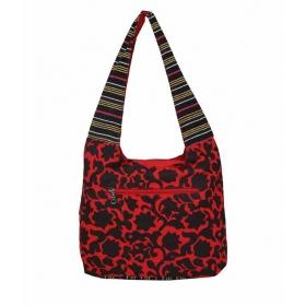 Flora Red Canvas Shoulder Bag