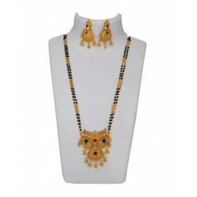 Jewellery Golden Brass Mangalsutra Set