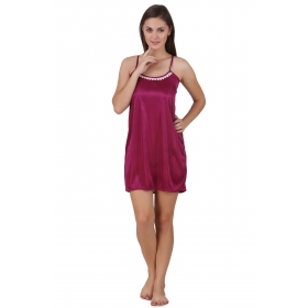 Fashion Wear Satin Baby Doll Dresses Without Panty - Pink