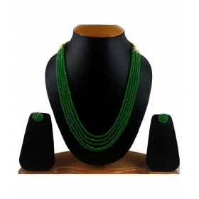 Layer Crystal Beads Necklace With Earrings