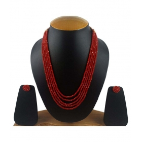 Ruby Colour Five Layer Red Color Crystal Beads Necklace With Earrings For Women And Girls