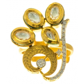 Silver Gold Plate Abstract Crystal Kundan Jadau Ring