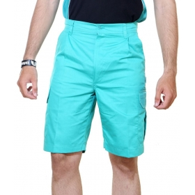 Turquoise Cotton Blend Solids Shorts