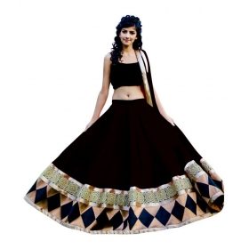Black Net Unstitched Semi Stitched Lehenga