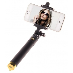 Aux Wire Selfie Stick - Black