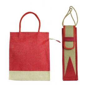 Jute Lunch Bag With Water Bottle Bag