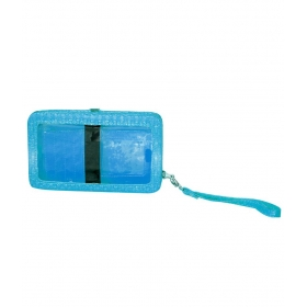 Casual Blue Polyster Ladies Mobile Wallet