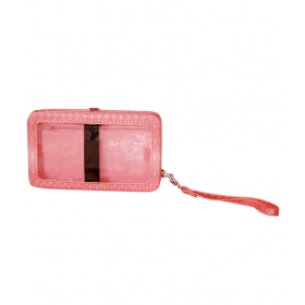 Casual Pink Polyster Ladies Mobile Wallet