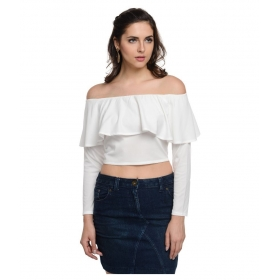 White Polyester Crop Top