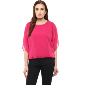 Pink Poly Georgette Tops