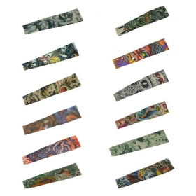 Multicolor Neoprene Sun Protection Arm Tattoo Sleeves - Pack Of 12