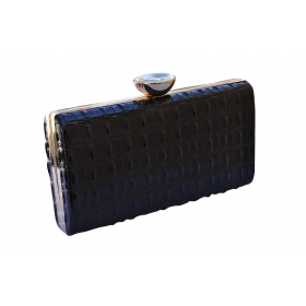 Crystal Croc Evening Clutch Black