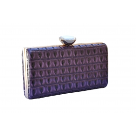 Crystal Croc Evening Clutch Purple