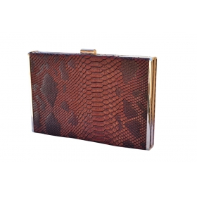 Phyton Lady Box Clutch Brown