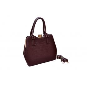 Exotic Top Hook Croc Matte Dark Brown Handbag
