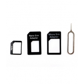 Sim Card Adapter Nano To Micro - Nano To Regular - Micro To Regular With Eject Pin For Iphone 4s 5 5c 5s + Ipad 2 3 4 Air