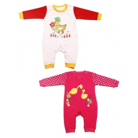 Baby Full Sleeve Diaper Friendly Printed Cotton Romper For Boy's & Girl's (combo Pack Of 2)