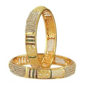 Gold Toned American Diamond Meenakari Broad Bangles Set