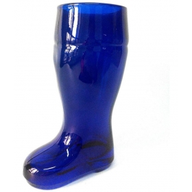 Blue Beer Boot Glass