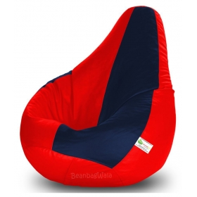 Bean Bag Xxl-red&navy Blue-filled(with Beans)