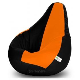 Bean Bag Xxl-black&orange-filled(with Beans)